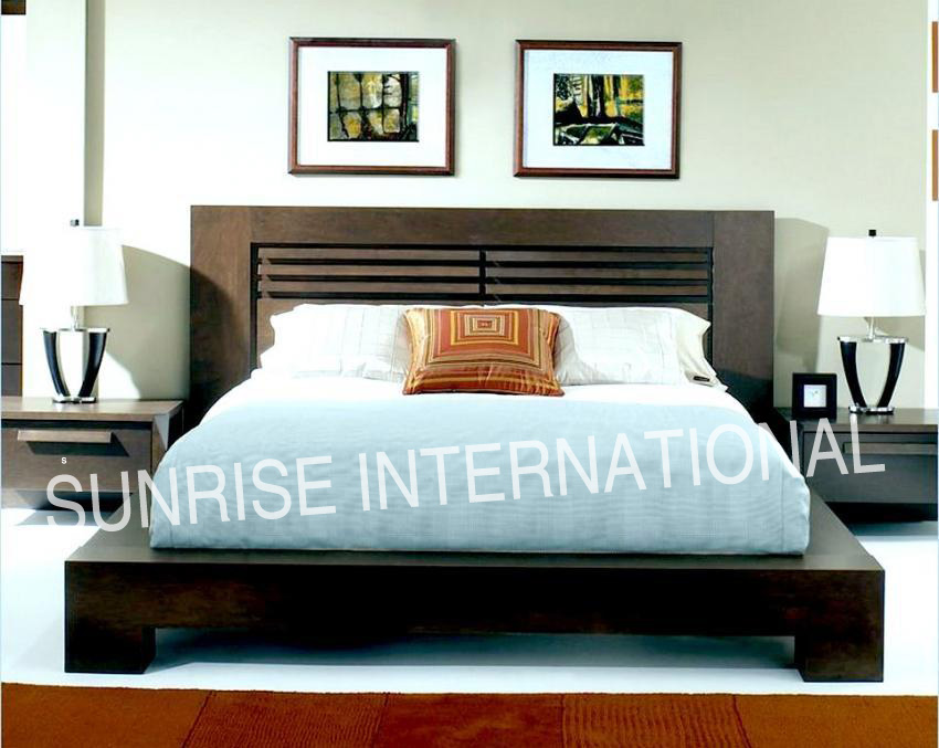 Sunrise international wooden beds bedroom sets for Double bed designs in wood with storage